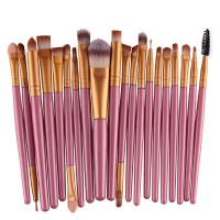 Twenty PCs Professional Makeup Brushes Set - Pink Golden