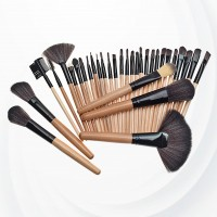 Twenty Four Piece Wooden Handle Luxury Brushes - Brown