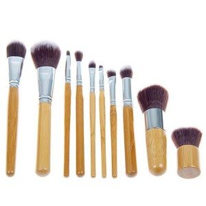 Bamboo Handle Ten Pcs Pro Makeup Brushes Set For Women