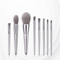 Eight Piece Wooden Handle Fancy Brush - Silver