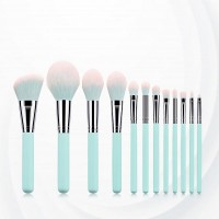 Twelve Piece Wooden Handle Fancy Brush - Light Blue