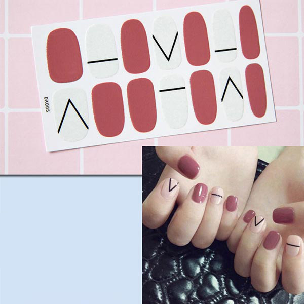 Contrast Duo Colors Fashion Nail Stickers - Red