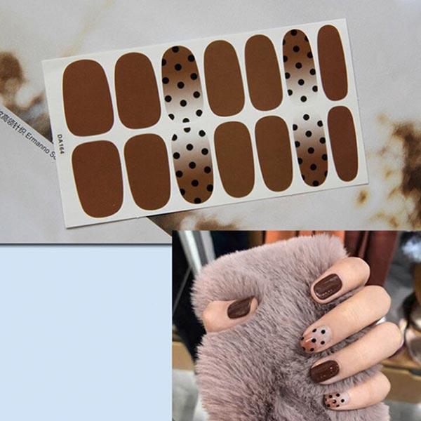 Polka Dots Contrast Fashion Nail Stickers - Brown