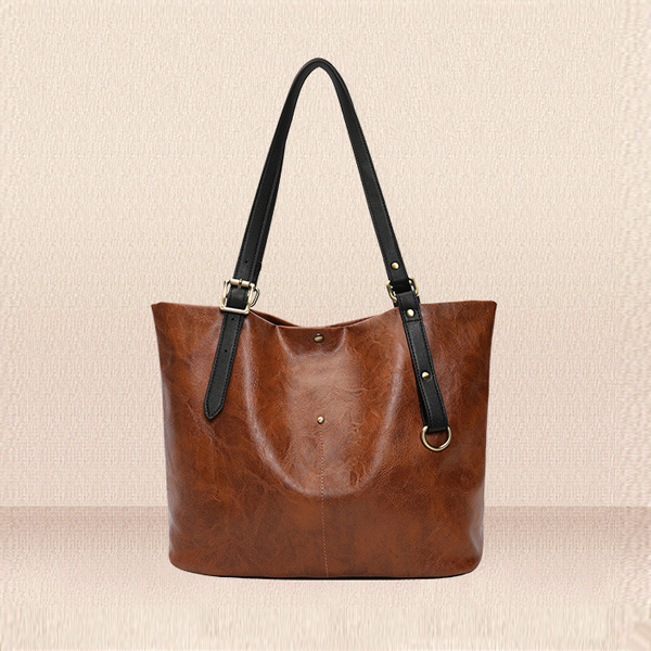 PU Textured Strong Hold Strappy Shoulder Bags - Brown