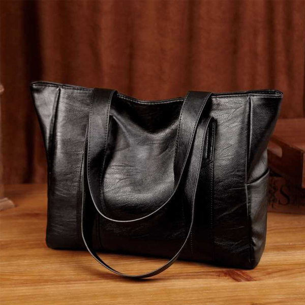 Wide Space Leather Textured Shoulder Bags - Black