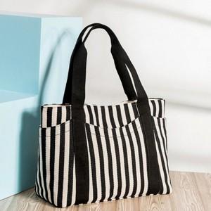 Striped Prints Large Space Casual Shoulder Bags - Black