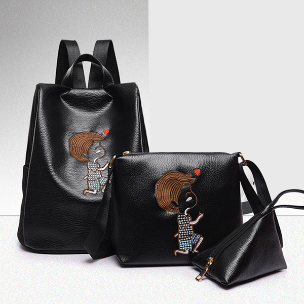 Three Pieces Embroidered PU Backpacks Set