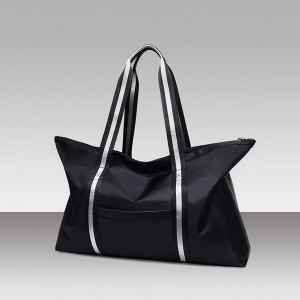 Shiny Strapped Canvas Wide Space Bags - Black