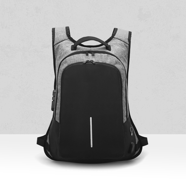 Anti Theft Nylon Secure Smart Backpacks - Grey