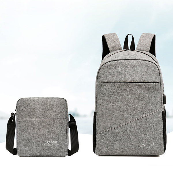 Two Pieces Anti Theft Canvas Smart Backpacks - Grey
