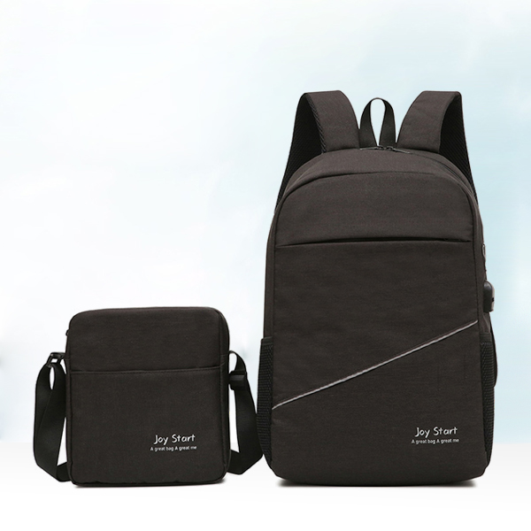 Two Pieces Anti Theft Canvas Smart Backpacks - Black