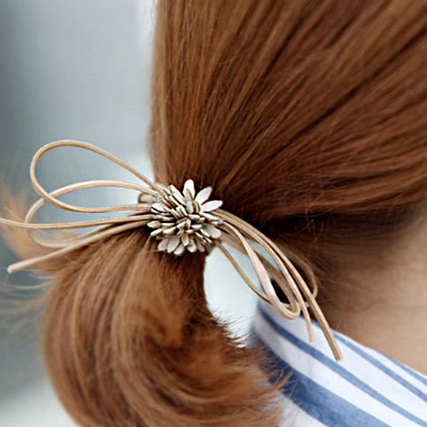 Floral Leather Rope Hair Band - Golden