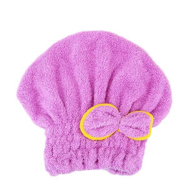 Hair Dryer Polyester Women shower Wrap Cap - Purple