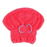 Hair Dryer Polyester Women shower Wrap Cap - Hot Pink