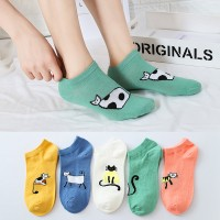 Kitten Prints Toe Cover Cotton Casual Five Pair Socks