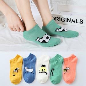 Kitten Prints Toe Cover Cotton Casual Five Pair Socks
