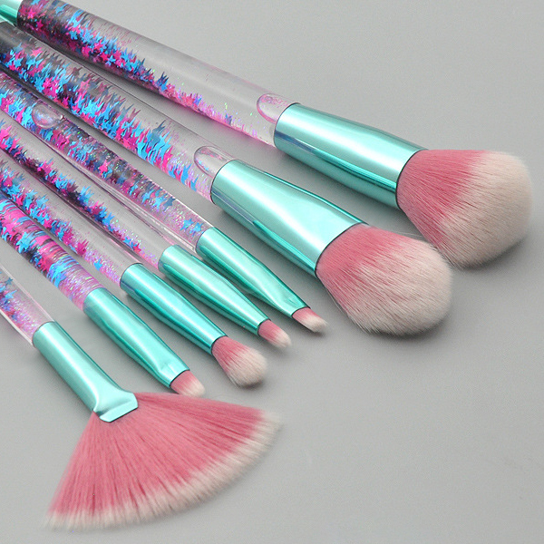 Fancy Transparent Makeup Brushes Set - Green