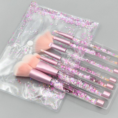Fancy Transparent Makeup Brushes Set - Pink