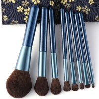 Face Makeup Eight PCs Professional Brushes Set - Blue