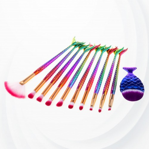 Fish Style Eleven Pieces Makeup Brushes Set
