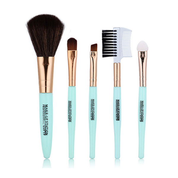 Set Of Five Pieces Sky Blue Brushes Set
