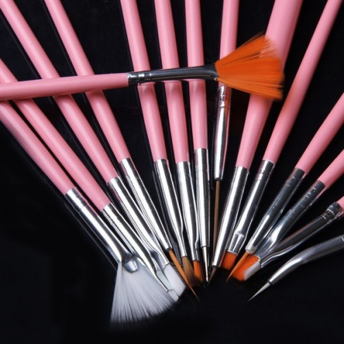 15 Pieces Brush Set With Nail Decoration Tool - Pink