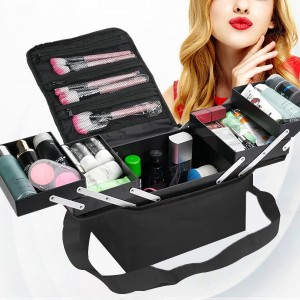 Fold-able Cover Four Open Large Cosmetics Storage Bag - Black