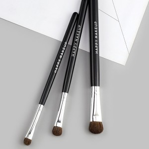 Three Piece Wooden Handle Fancy Make Brushes - Black