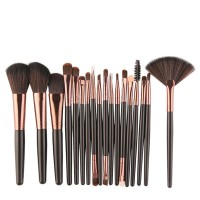 Eighteen PCs Professional Makeup Brushes Set - Black Gold