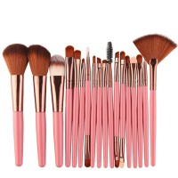 Eighteen PCs Professional Makeup Brushes Set - Pink Gold