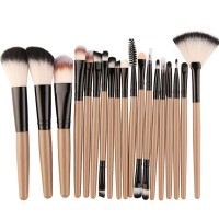 Eighteen PCs Professional Makeup Brushes Set - Khaki
