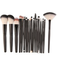 Eighteen PCs Professional Makeup Brushes Set - Black