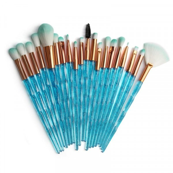 Twenty Pieces Glitter Mermaid Makeup Brushes Set - Sky Blue