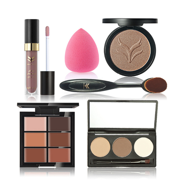Useful Makeup Tools And Lip Gloss With Foundation Brush
