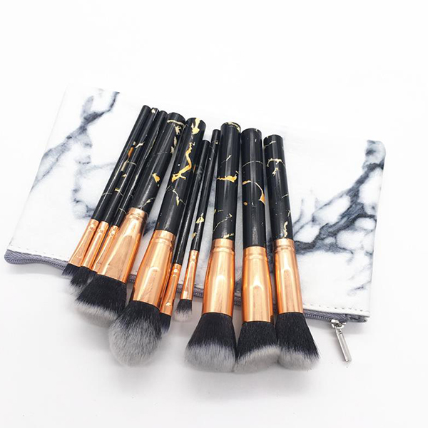 Ten Pieces Marble Textured Makeup Brushes Set - Black
