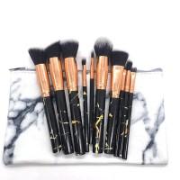 Ten Pieces Marble Textured Makeup Brushes Set - Black