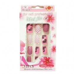 Polka Dots Heart Style Design Artificial Fake Nails For Women