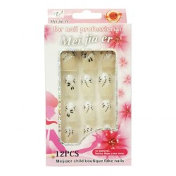 Flower Beautiful Black Pattern Art Artificial Fake Nails For Women