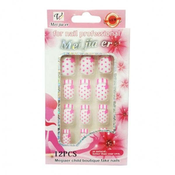 Pink Polka Dots Stars Patterns Artificial Fake Nails For Women