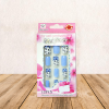 Fake Nails For Girls Blue Printed Long False Nails