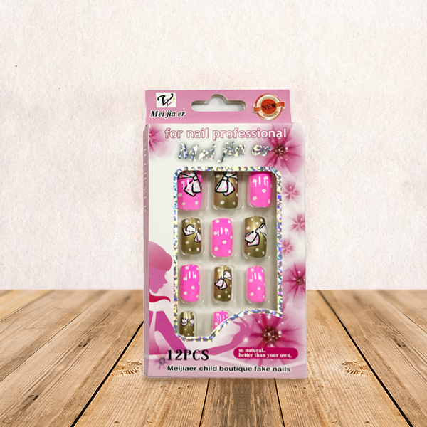 Pink And Golden Fashion Printed Fake Nails For Girls