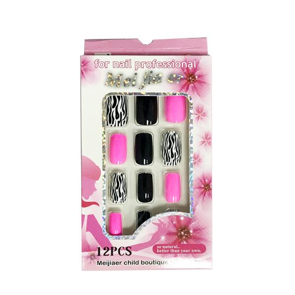 Acrylics Gels Nails Pink And Black Fake Nails 12 Piece