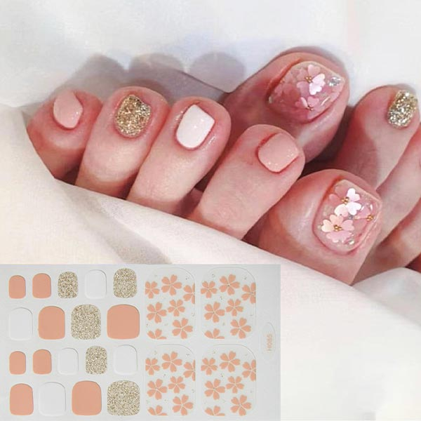 Floral Contrast Shiny Adhesive Nail Stickers