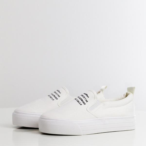 Plain Canvas Breathable Flat Shoes - White