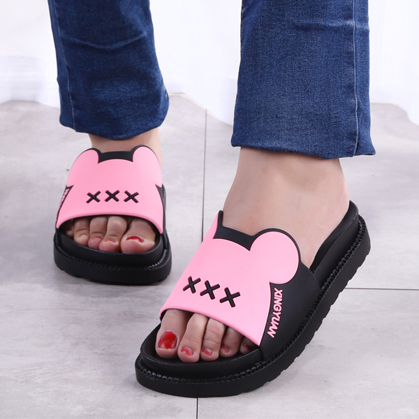 Micky Fancy Carved Cute Soft Slippers - Pink