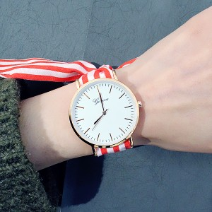 Striped Canvas Ribbon Printed Wrist Watch - Red