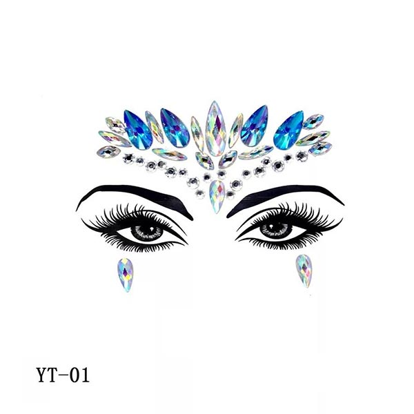 Colorful Rhinestone Face Decoration Face Stickers - Code 01