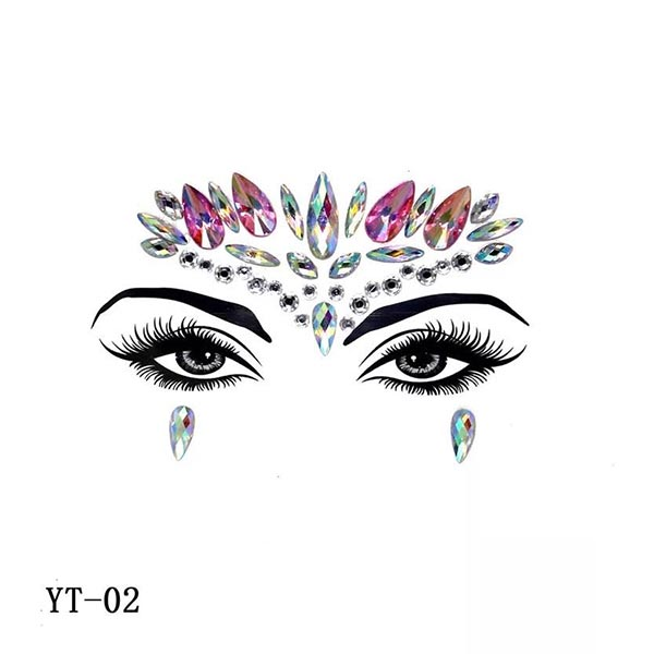 Colorful Rhinestone Face Decoration Face Stickers - Code 02