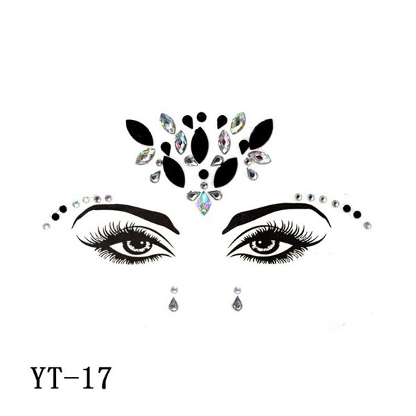 Face decoration colorful rhinestone face stickers - Code 17