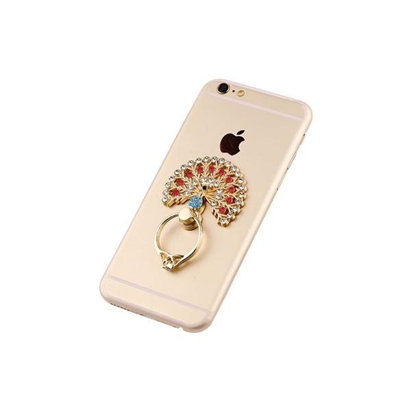 Bling Diamond Peacock Ring Finger Grip Smartphone Holder Red